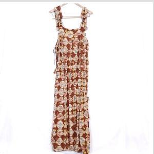 1082 XSite Linen Blend Maxi Bib Dress